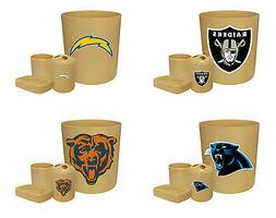 NFL Team Logo 4 Pc Beige Bathroom Set Trash Can Toothbrush H
