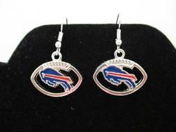Buffalo Bills NFL Football Team Dangle Earrings - Silver Ton