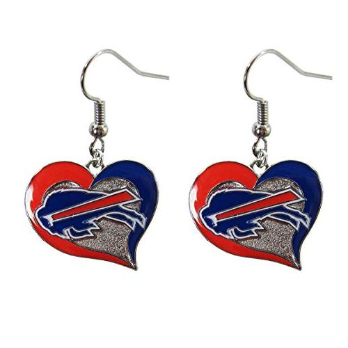 Brand New NFL Buffalo Bills Swirl Heart Earring Dangle Charm
