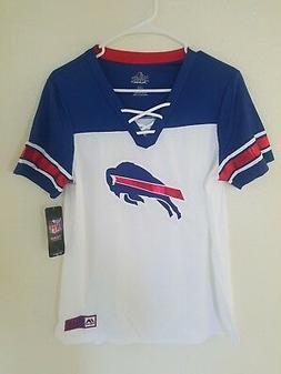 New NFL Women's Majestic White-Blue Buffalo Bills Lace-Up VN